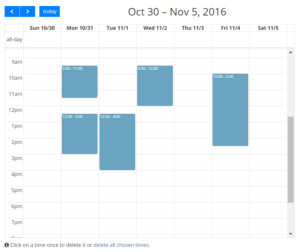 Full calendar for faster scheduling